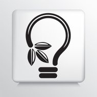 Square Icon With Green Leaf Ideas Light Bulb