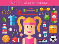 Set of modern flat design sport, fitness and healthy lifestyle