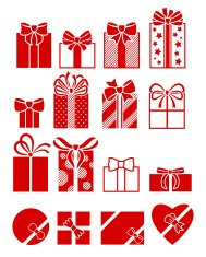 Gift boxes flat icons set.