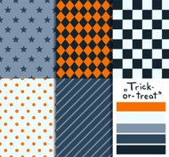 Set of 5 simple seamless geometric patterns. 'Trick-or-treat