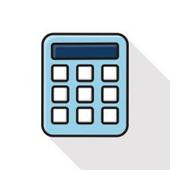 calculator line icon with long shadow