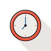 clock line icon with long shadow