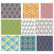 Set of 9 seamless geometric and line shape patterns set 3