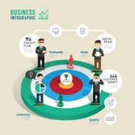 Business target board game concept infographic step to success