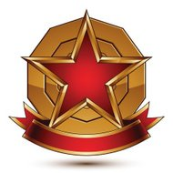 Golden vector stylized round symbol with red glamorous star