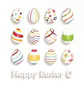 Happy Easter poster on white background with colorful eggs
