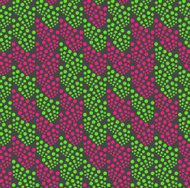 Colored geometrical pattern with green and pink dotted texture