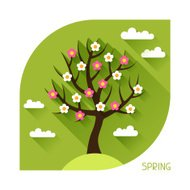 Seasonal illustration with spring tree in flat style