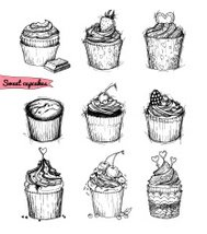 Hand-drawn vector illustration - Sweet cupcakes. Line art.