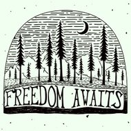 Freedom awaits grungy handdrawn quote poster