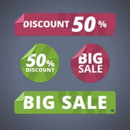 Set of rectangular and circular stickers for sales and discounts.