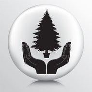 Round Icon With Two Hands Cupping a Christmas Tree Silhouette