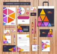 Vector artistic corporate identity template with color elements