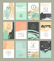 Hand drawn collection of invitations with geometric icons and lo