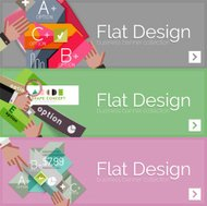 Flat design vector infographic banners with geometric infographi