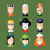 Set of nine avatars illustrating different types of people