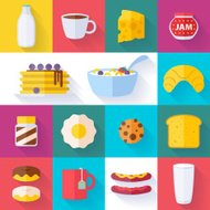 Set of colorful breakfast icons