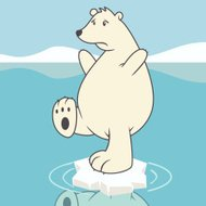 Sad polar bear, global warming