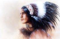 beautiful illustration, painting, young indian warrior with feather headdress