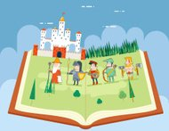Fairy Tales History Books Reading Concept Symbol Castle Forest F