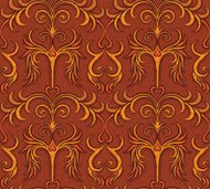 Seamless pattern - textured flames, hearts, scrolls