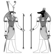 Egyptian ancient symbol, isolated figure of ancient egypt deitie