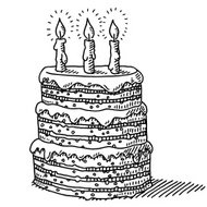 Big Birthday Cake With Three Candles On Top Drawing