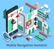 Mobile Navigation Isometric