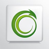 Square Grey Icon With  Bright Green Recycling Arrow