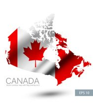 Canada vector contour map with Canada flag