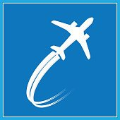 Vector icon of white airplane on blue background