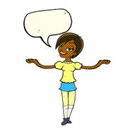cartoon woman making open arm gesture with speech bubble