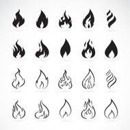 Vector set of flame symbols on white background