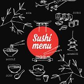 Sushi restaurant front cover menu