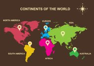 continents of the world, Asia, Europe, Australia, America, Afric