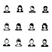 Black and white set of human portrait icons