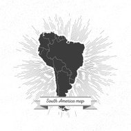 South america map with vintage style star burst, retro element