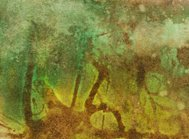 Green and brown watercolor painting with paint splatters