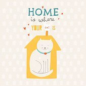 Home Is Where Your Cat Is hand drawn illustration.