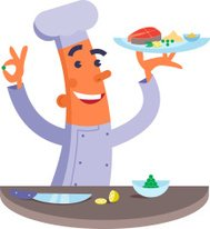 Cartoon chef holding plate with fish steak