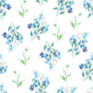 Forget-me-nots watercolor seamless vector print