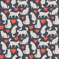 Vector seamless pattern with cats and hearts