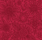 Vector seamless pattern with beautiful flowers.