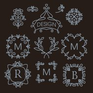 set of floral line design elements