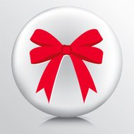 Round Icon With Big Double Looped Red Tied Bow