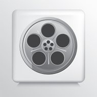 Square Icon With Circle Shaped Greyscale Colour Film Strip Reel