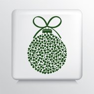 Square Icon With Green Polka Dotted Christmas Ornament and Bow