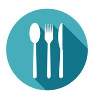 Knife, Fork and Spoon Icons set in flat style
