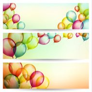 Festive banners with balloons