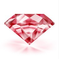 Realistic transparent ruby on white background with reflection